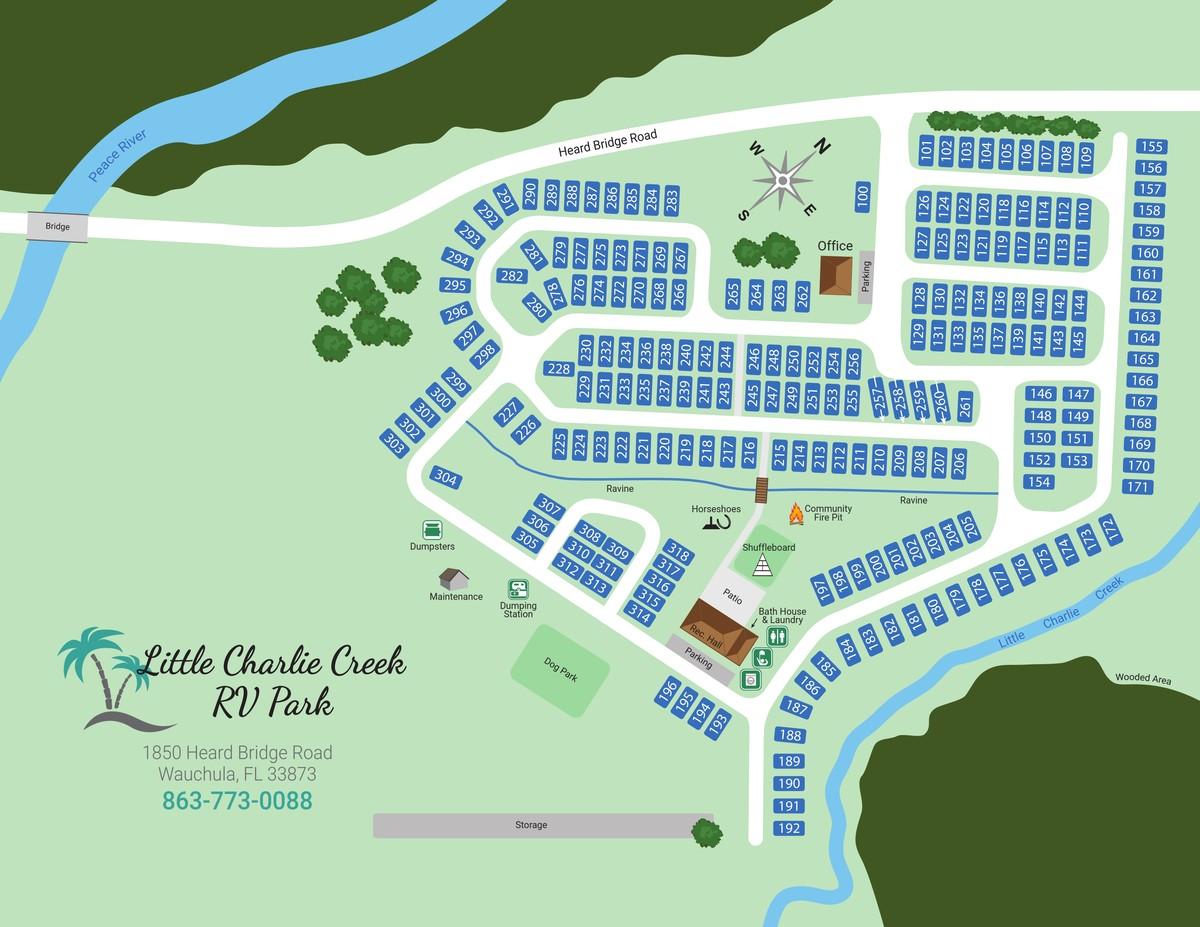 Florida Rv Parks Map Park Map | Little Charlie Creek   Wauchula, FL RV Park